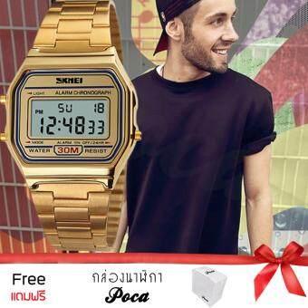 นาฬิกาข้อมือแฟชั่นสไตล์เกาหลีผู้หญิง ผู้ชาย SKMEI นาฬิกาข้อมือ กันน้ำได้ รุ่น A168WGA-11123 (สีทอง) แถม กล่อง PocaBox