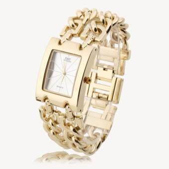 นาฬิกาข้อมือนาฬิกาข้อมือผู้หญิงทองผสมประสานสายเหลี่ยมหมุนสร้อยข้อมือ