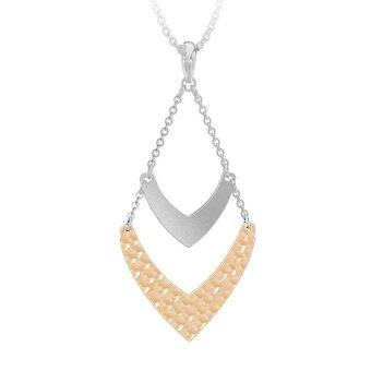 555jewelry Stainless Steel 316L Pendant with chain necklace จี้ดีไซน์เก๋สำหรับผู้หญิง (Pink Gold/Steel)