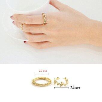 Harga 6PCS/Set Rings Urban Gold Plated Crystal Plain Above Knuckle Ring Band Midi Ring