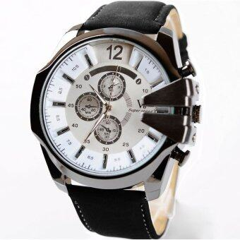 MEGA Luxury Quartz Waterproof Leather Watchband Outdoor Fashion Analog Wristwatch หรูหรานาฬิกาข้อมือ สายหนัง กันน้ำ รุ่น MG0018 (White/Black)