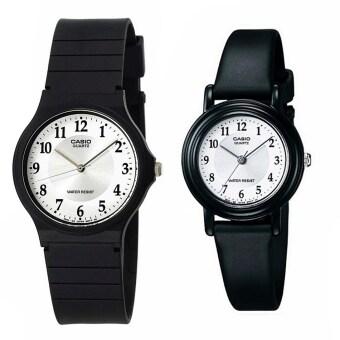 Casio Standard นาฬิกาข้อมือ คู่ชาย/หญิง สายเรซิน รุ่น MQ-24-7B3 และ LQ-139AMV-7B3 สีดำ/ขาว