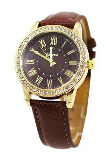 Sanwood สตรีโกลเด้นเคสคล้ายคลึงผลึกเพชรพลอยเทียมกาแฟนาฬิกาข้อมือ