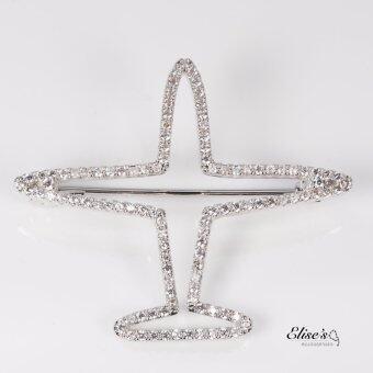 Elise's เข็มกลัดทรงเครื่องบิน งานเกาหลี ฝังเพชรเทียมคริสตัลใส ชุบโรเดียมเคลือบทองคำขาว