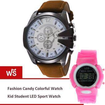 MEGA Luxury Quartz Waterproof Leather Watchband Outdoor Fashion Sport Watch หรูหรานาฬิกาข้อมือ สายหนัง กันน้ำ รุ่น MG0018 (White/Brown) (ฟรี Fashion Candy Colorful Kid Student Sport LED Watch)