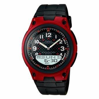 Casio Standard นาฬิกาข้อมือผู้ชาย สายเรซิน รุ่น AW-80-4BVDF - สีดำ/แดง