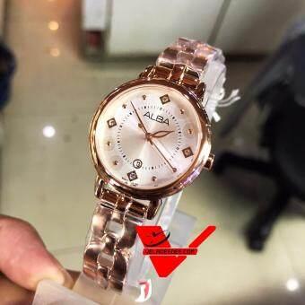 Alba modern ladies นาฬิกาข้อมือหญิง ทรงกลม สายสแตนเลสสีทองชมพู รุ่น AH7L52X1 (PinkGold)