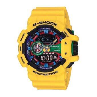 Casio G-Shock นาฬิกาข้อมือผู้ชาย สีเหลือง สายเรซิ่น รุ่น GA-400-9A