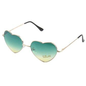 กรอบแว่นสไตล์สาวโลหะรูปทรงเลนส์แว่นตาแว่นตาหัวใจรักสีเขียว