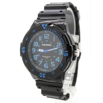 Submariner นาฬิกาข้อมือชาย-หญิง สายยาง หน้าปัดดำ/เลขนำ้เงิน ระบบเข็ม S-4(Black)