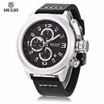 Megir Watch TG01-BR นาฬิกาข้อมือแฟชั่นชาย สายหนังสีดำ สปอร์ต วินเทจ