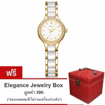 Kimio นาฬิกาข้อมือผู้หญิง สีขาว/ทอง สาย Alloy รุ่น KW6121 (แถมฟรี กล่องใส่เครื่องประดับ Elegance Jewelry Box คละสี มูลค่า 390-)