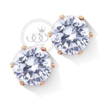 555jewelry 316L Earrings ต่างหูผู้หญิง ประดับ CZ รุ่น MNC-ER427-C สี พิ้งโกลด์CZขาว ต่างหูสแตนเลส ต่างหูสตั๊ด (ER61)