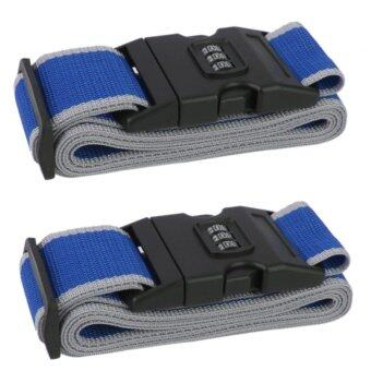 TravelGear24 สายรัดกระเป๋าเดินทาง 2 อันพร้อมรหัสล็อก Travel Luggage Belt Suitcase Strap - น้ำเงินเทา/Blue-Grey
