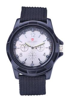 นาฬิกาควอทซ์ทหารทหารรัดผ้าแคนวาสคล้ายคลึงนาฬิกาสีดำเข็มขัดขาวพื้นผิว