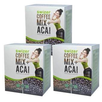 SWIZER COFFEE MIX ACAI BERRYกาแฟเพื่อสุขภาพ สไวเซอร์ คอฟฟี่ มิกซ์ พลัส อาซาอิ เบอร์รี่ จากป่าอเมซอนในบราซิล บรรจุ 10 ซอง (3 กล่อง)