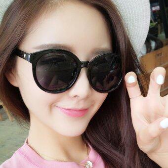KPshop แว่นกันแดดผู้หญิง แว่นตาแฟชั่น แว่นตาเกาหลี รุ่น LG-001 (สีดำ)