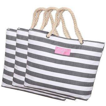 กระเป๋าผ้าแฟชั่นสไตล์ญี่ปุ่น ลายแถบสีขาวเทา คุณภาพดีสวยงามน่าใช้ แพค 3 ชิ้น