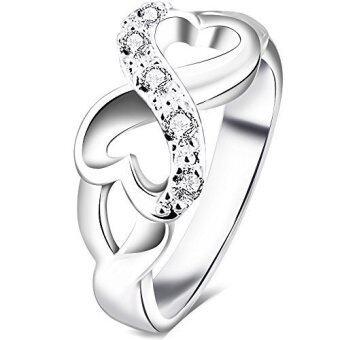 สตรี 925 สเตอร์ลิงเงินกาไหล่ลูกบาศก์ Zirconia แหวนแต่งงานไร้สัญลักษณ์หัวใจแซดสาย