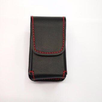 Iruach leather vp001 ซองแว่นพับ หนังวัวแท้สีดำด้ายแดง