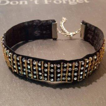 Rock n Roll charm choker necklaceสร้อยโช้คเกอร์ประดับเพชรและบีทสีทอง