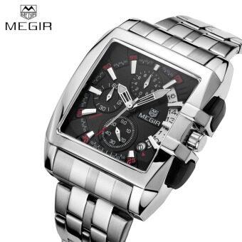 MEGIR นาฬิกาข้อมือชาย รุ่น Sturdy Alloy Strap Good Quality Man Luxury Wristwatch Rectangle Watchcase Analog Quartz Watch