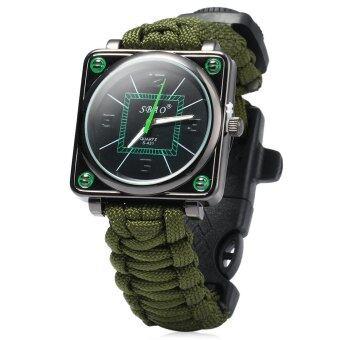 นาฬิกากลางแจ้งด้วยเข็มทิศนกหวีดไฟตรวจเครื่องยนต์ (กองทัพสีเขียว)