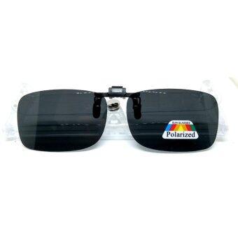 คลิปออน แว่นตากันแดด ทรงสี่เหลี่ยมผืนผ้า รุ่น CQ Polarized เลนส์ดำ 58mm x 36mm