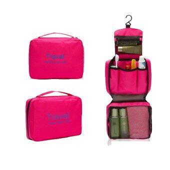กระเป๋าจัดระเบียบอุปกรณ์อาบน้ำและเครื่องสำอาง มีที่แขวน ใช้งานสะดวก(สีชมพู)