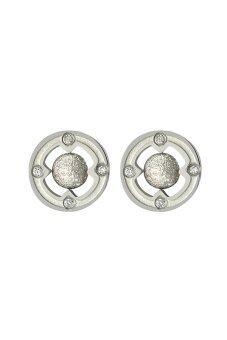 555jewelry ต่างหูแบบก้านเสียบวงกลม ตรงกลางเป็นบอลทรงกลม รุ่น MNC-ER308-A - Steel