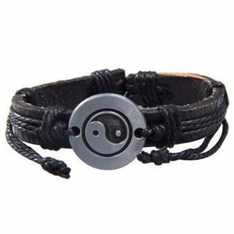 Harga Tai Chi Wrap Multilayer Leather Bracelet with Braided Rope - intl