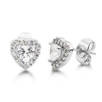 555jewelry ต่างหูก้านเสียบประดับด้วย CZ หัวใจน่ารัก - สี เงิน รุ่น MNC-ER523-A