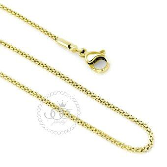 555jewelry สร้อยคอโซ่ถักกลม รุ่น MNC-C004-B (สี Yellow Gold) (CH22)