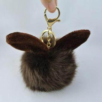 Pearl Jewelry พวงกุญแจ กระต่าย ฟูฟู สีน้ำตาล KA05