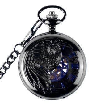 จารึกซัดโซ่เครื่องจักรบุรุษนาฬิกากระเป๋ากลวงนกสีน้ำเงินสีดำ