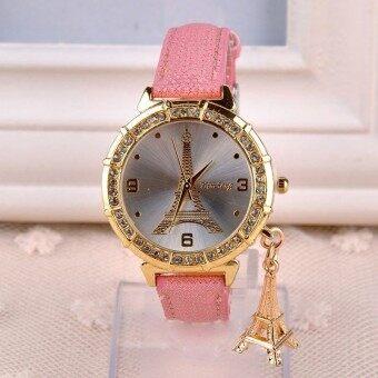 หญิงผลึกหอไอเฟลนาฬิกาข้อมือจี้สีชมพู