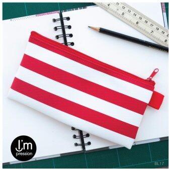 I'mpressionBag กระเป๋าใส่ดินสอ pencilbag ทรงแบน ซิปรูด ลายทาง แถบใหญ่ (ขาวแดง white red)