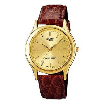 Casio Standard นาฬิกาข้อมือผู้ชาย- สีทอง สายหนังสีน้ำตาล รุ่น MTP-1093Q-9A
