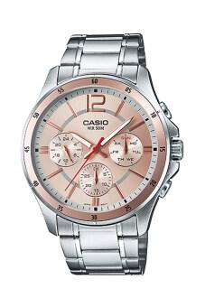 Casio Standard นาฬิกาข้อมือผู้ชาย สายแสตนเลส รุ่น MTP-1374D-9AV - Pink