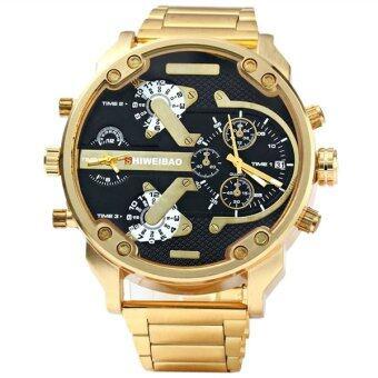 ชายคู่ 3137 ครั้ง SHIWEIBAO ดิสเพลย์ผลึกนาฬิกาข้อมือด้วยสายสเตนเลส (โกลเด้น และสีดำ)