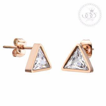 555jewelry ต่างหูสตั๊ดรูปสามเหลี่ยมฝังเพชรCZสีขาวสวยเป็นประกาย รุ่น MNC-ER724-C (ER52)
