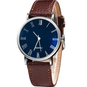 MEGA Quartz Waterproof Luminescence Glass Wristwatch Roma Digits หรูหรานาฬิกาข้อมือ สายหนัง กันน้ำ รุ่น MG0010 (Brown)