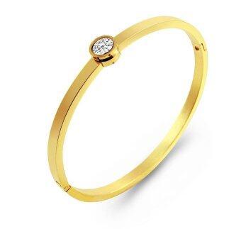 555jewelry 316L Bangle กำไล รุ่น MNC-BG147-B สี Yellow Gold