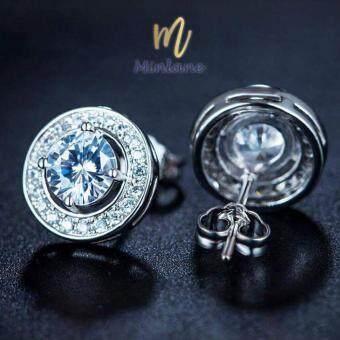 Minlane Jewelry Round Champagne Cubic Zirconia White Cubic Zirconia Double Halo Stud Earrings with White Gold Plated ต่างหู เพชร คริสตัล ล้อมด้วยทองคำขาว ถอดได้ MJ 011