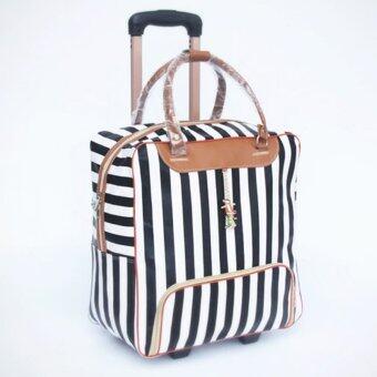 Little Bag กระเป๋าเดินทางใบเล็ก กระเป๋าเดินทางล้อลาก กระเป๋าล้อลาก travel bag ลายทาง รุ่น LT-003 (สีขาว/ดำ)