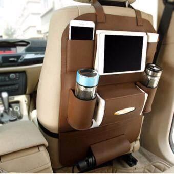 Smartshopping ที่ใส่ของในรถเอนกประสงค์ กระเป๋าใส่สัมภาระอเนกประสงค์ด้านหลังเบาะ สีน้ำตาล