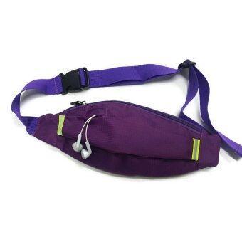 Lotte กระเป๋าแนบตัว ผ้าลาย samsonite พร้อมช่องลอดหูฟัง สายชาร์จ (Purple)