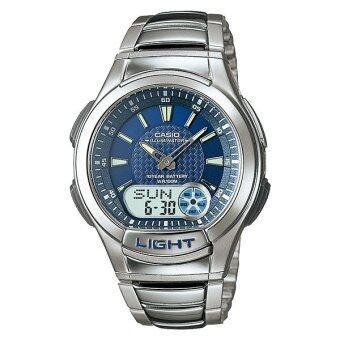 Casio Standard นาฬิกาข้อมือผู้ชาย สีเงิน/น้ำเงิน สายเรซิ่น รุ่น AQ-180WD-2BV