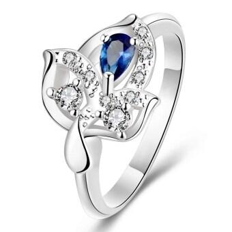 925 เงินกาไหล่แหวนสำหรับผู้หญิงมีรูปแบบใบหูย 7 สีน้ำเงิน