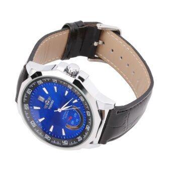 Allwin เครื่องกลไกคลาสสิคนาฬิกาข้อมือผู้ชายสายหนังนาฬิกาสังเคราะห์สีน้ำเงิน
